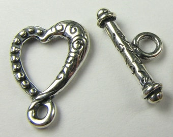 Beautiful Heart Bali .925 Sterling Silver Toggle Clasp 18mm (1 set)