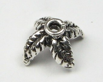 Palm Tree Bali Sterling Silver Bead Caps 11mm (2 caps)