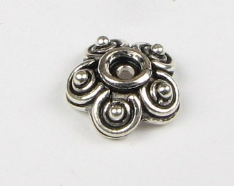 Scalloped Bali Sterling Silver Bead Caps with Dots 10mm x 4mm (2 beads)