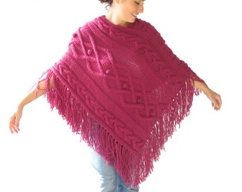 Plus size - Pink Cable Knit Poncho by Afra