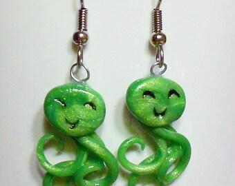 Green Happy Jellyfish earrings squid octopus kawaii cute tentacle surgical steel dangle