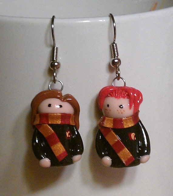 Harry Potter Ron and Hermione earrings
