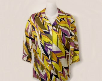 1970s Blouse Shirt Violet Gold Psychedelic Wave 1960s 1970s Small New Old Stock