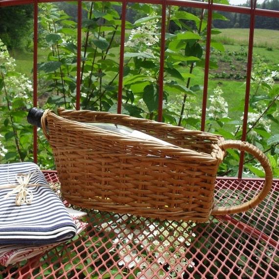 Vintage Wicker Wine Holder Basket