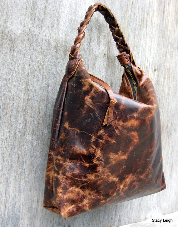 Distressed Leather Mini Hobo Bag in Old English Pub Leather by Stacy Leigh RESERVED for Heather