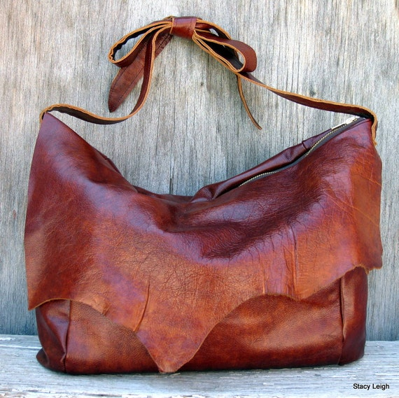 Copper Wine Leather Bag with Rustic Character by Stacy Leigh Ready to Ship