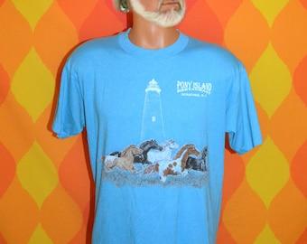 vintage 80s t-shirt OUTER BANKS pony island ocracoke north carolina tee shirt Large obx horses