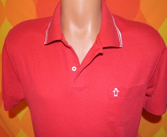 Vintage 80s golf shirt polo penguin grand slam munsingwear red for Golf shirt with penguin logo