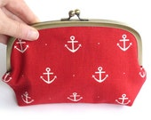 Red and White Nautical Anchors Fabric Cosmetic Bag Makeup Purse with Blue and white Polka Dot Lining