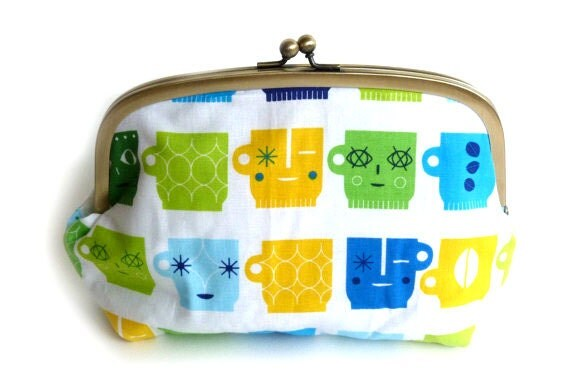 Cosmetic bag, blue and green, cotton coffee cup design, makeup bag