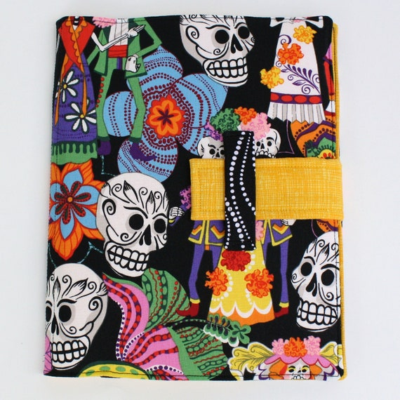 IPad case stand Day of the Dead fabric ipad cover