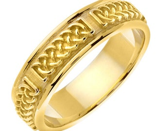 14 kt Gold 6mm Comfort Fit Crafted Celtic Style Commitment or Wedding Band Custom made Size 4 through 8.5
