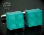 LEGO Teal Brick Cufflinks