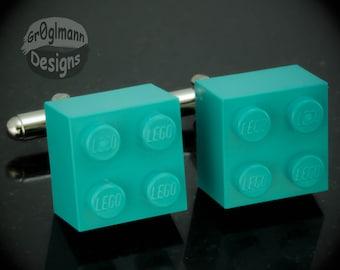 Teal Cufflinks - made with LEGO bricks