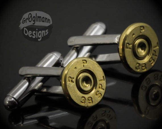 1 Day SALE- Remington 38 Special Pistol Bullet Casing Shell Cufflinks