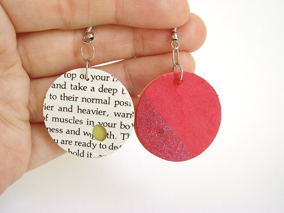Deep Fuschia Circle Paper Earrings, Paper Moon Earrings in Deep Fuschia with Sparkly Slope