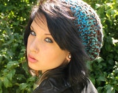 Celebrity slouch hat chunky beret Rasta WATER turquoise aqua brown teal