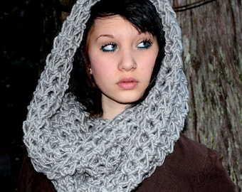 The Favorite Cowl neck hood scarf warmer concrete grey wool