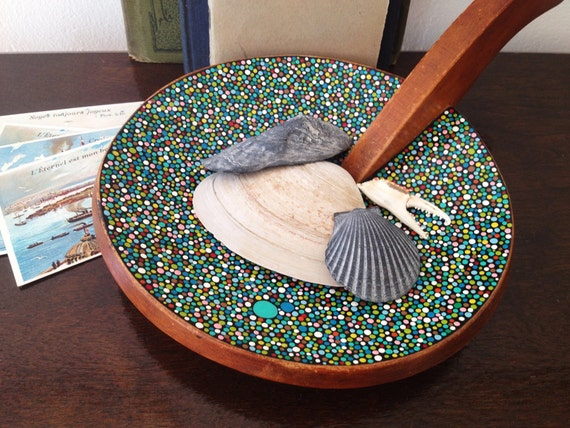 Circular Dish with a handle : Hand-painted Blue/Green Dots