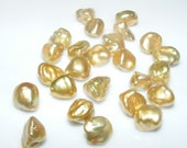 ON SALE Golden Color Nugget Style Freshwater Pearl Beads 25