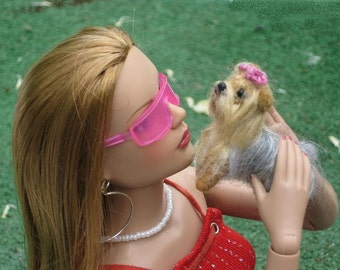 Doll Pet / Needle Felted Dog /Custom Miniature Sculpture of your pet / Cute small size / Teacup Yorkie