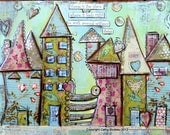 House Art Print - poster mixed media, house prints, colorful, whimsical, bold colors