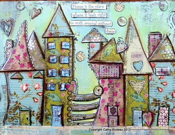 House Art Print Poster Mixed Media House Prints Colorful