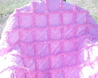 Soft and sweet pink minky baby girl rag quilt 36x45