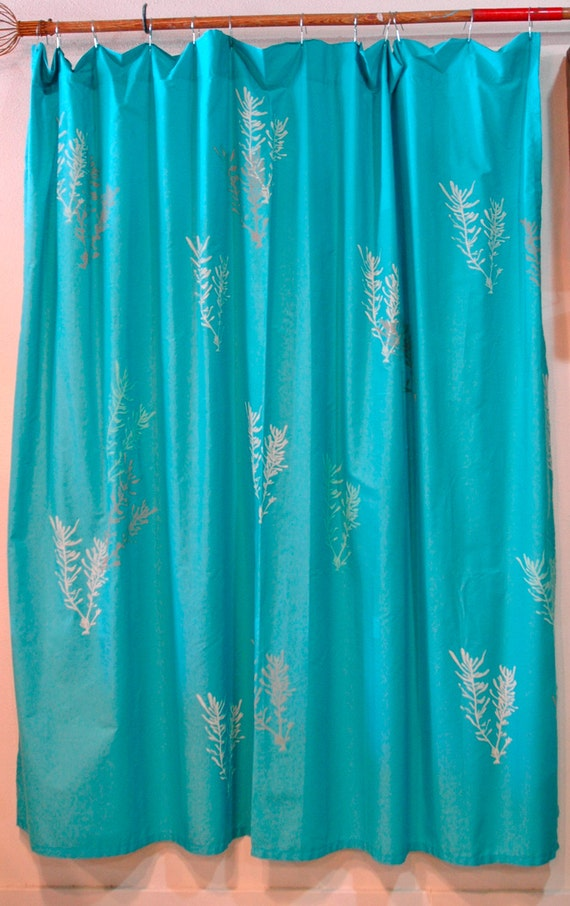 aqua blue shower curtain with seaweed print in pale aqua and grey