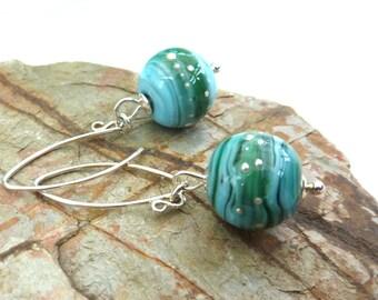 Blue Sea Rounds glass earrings - UK, SRA