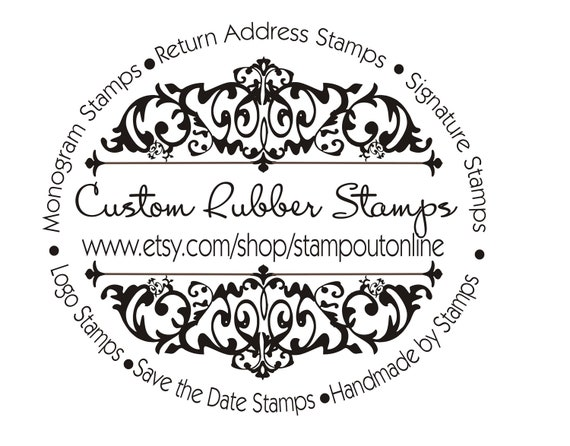 Rubber Floral Stamp  for your company name, website info for tags, shipping boxes and labeling products --2610