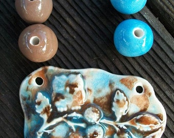 Handmade Ceramic Owl on a Branch Pendant with Accent Beads