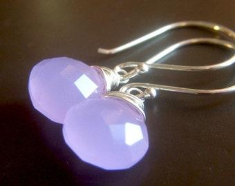 Lavender Earrings, Lilac Lavender Chalcedony Earrings Sterling Silver, Wirewrapped Dangle Minimalist Earrings, Gemstone Briolette