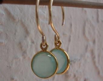 Aqua Drop Earrings, Gold Chalcedony Dangles, Simple Jewelry, Sweet Gift Earrings