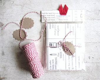 Handmade Envelope Set. Vintage Children's Dictionary, Baby Shower, Christmas Cards
