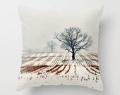 Pillow Cover, Photo Pillow, Winter Farm, Trees, Landscape Pillow, Home Decor,  Living Room, Bedroom, 16x16, 18x18, 20x20 - ellemoss