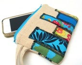 iPhone Wristlet, Smart Phone Wallet, Clutch Wristlet - Skyscrapers in Blue Yellow Green on Natural