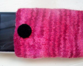 Cell phone cozy felted wool pink cherry red fun