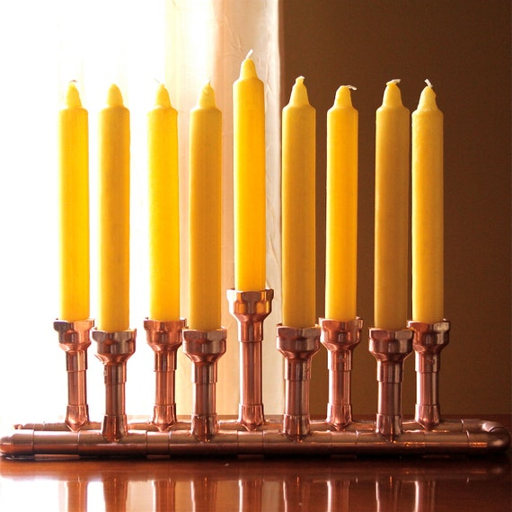 Hanukkah Menorah Copper Industrial Style