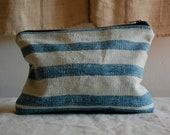 woven blue white stripe zip purse pouch - enhabiten