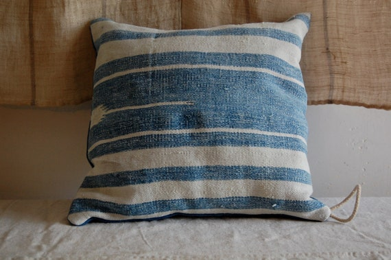 vintage woven and hand dyed indigo cushion