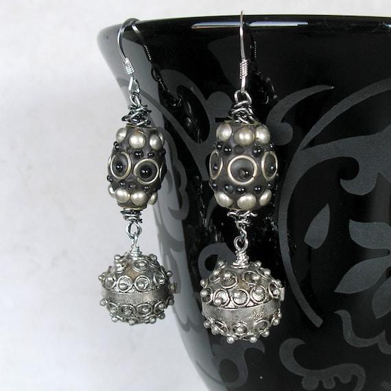 Tribal Beauty Earrings- Black and Silver Earrings- Exotic Middle Eastern Beads