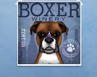 Boxer Winery dog bar art giclee archival signed artist's print by Stephen Fowler Pick A Size