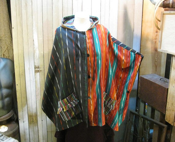 Vintage Cape ethnic ikat patch Poncho rainbow stripes M L