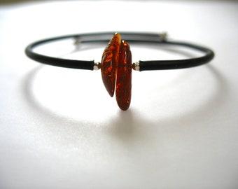 Amber Bracelet,  Baltic Amber Stone Cuff Bracelet, Handmade Baltic Amber Jewelry