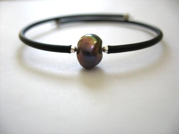Pearl Bracelet, Handmade Peacock Freshwater Pearl Cuff Bracelet, Pearl Jewelry, FREE Shipping