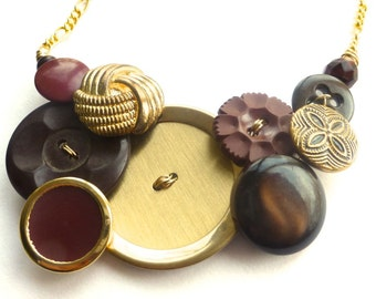 Brown Gold Brass Vintage Button Statement Necklace