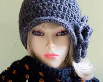 Crochet Pui Hat, Vintage Style in Dark Gray