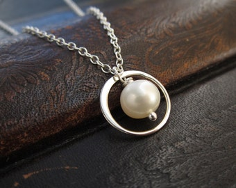 Tiny eternity pearl necklace, freshwater pearl, sterling silver ring, white, cream, silver necklace