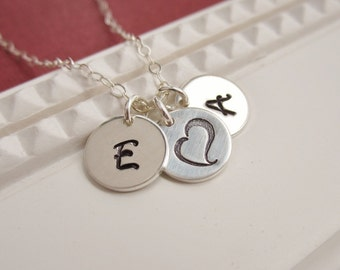 TWO initial necklace, couples jewelry, two custom initials, sterling silver monogram, silver necklace, personalized heart necklace